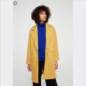 Mango mohair blend mustard yellow coat